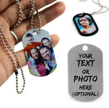Custom Silver Army ID Photo Dog Pet Tag Engraved Jewelry Necklace Pendant Gift