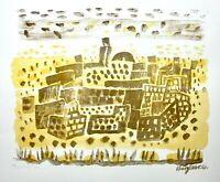 "Eduard Bargheer (1901-1979) signierte Farblithographie ""Wüstendorf"" 1973"