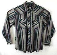 WRANGLER Mens 17 x 36 XL Long Tails Pearl Snap Western Shirt Cowboy Cut
