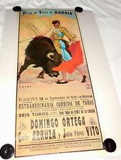 1946 Original Bullfight Poster~Carlos Arruza~Domingo Ortega~Plaza DeToros Madrid