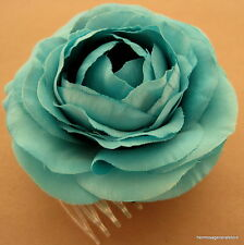 """3 1/2"""" Turquoise Ranunculus Silk Flower Hair Comb, Wedding.Prom,Dance,Party"""