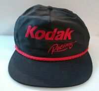 VTG Kodak Film Racing Snapback Cap Hat Black Red Made in USA Size OS