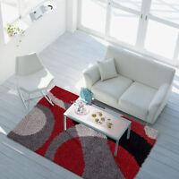 Shaggy Teppich Hochflor Patchwork-Design Rot Grau Schwarz Wohnzimmer Ver. Größen