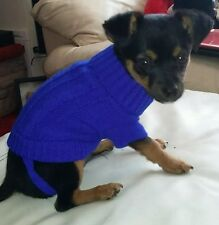 Chihuahua Size (XXS 4) Knitted Jumper Blue Pet Dog Clothes Puppy Dog Jumper