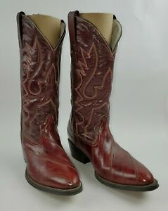 Mens Vaquero Cowboy Boots Size 7.5 Red/ Mahogany Leather Embroidered Design