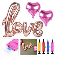 Love + 2 Rosa Herz Folienballon + Luftpumpe Alu Foil Balloon Party Hochzeit Deko