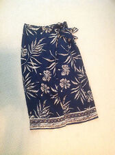 MAXI 100%SILK SKIRT SIZE 16 BY DUE PER DUE TAUPE, NAVY CRINKLE TEXTURED SILK