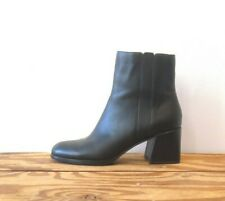 9 - Eileen Fisher Black Smooth Leather Block Heel Side Zip Ankle Boots 1125KG