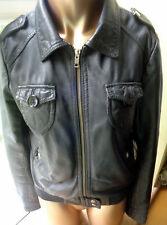 """Divided H&M Leather Jacket in Black Size 36"""" Lots of Pockets Zip"""