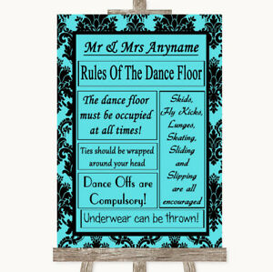 Wedding Sign Poster Print Blue Damask Rules Of The Dancefloor