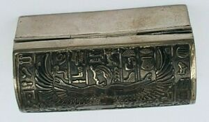 Hand Made Egyptian Sterling Silver Pill Box Hieroglyphics - Stunning and toned