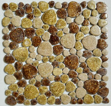 brown ceramic pebble mosaic tile kitchen bathroom background wall garden balcony