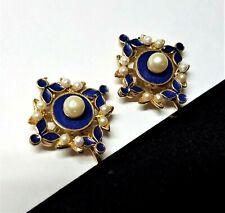 Vintage Art Deco Victorian Revival Blue Enamel Faux Pearl Clip Earrings