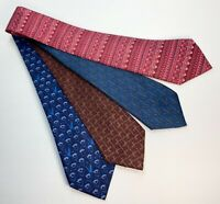 HERMES PARIS SILK NECKTIE LOT OF 4 MINT CONDITION RED BLUE GORGEOUS PRINTS RARE