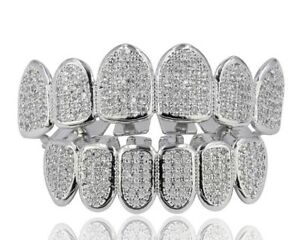 Vampire Teeth Grillz 18k Gold Plating Zircon Decal Jewelry Hiphop Fashion Grillz