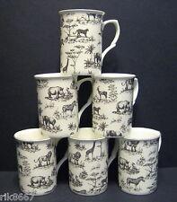 Set Of 6 Safari Elephant Lion Giraffe Leopard Rhino Fine Bone China Mugs Cups
