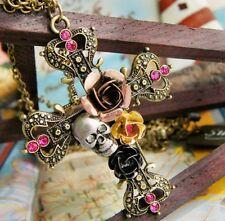 Jewelry Retro Fashion Silver Necklace Pendant Cross Skull Flower Sweater Chain