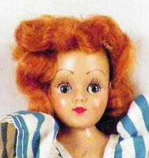 Vintage Duchess Hard Plastic Doll Red Mohair Wig Blue & White Dress 1948