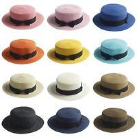 Women's Kids Girls Straw Bowler Boater Sun Hat Round Flat Caps Brim Summer Beach