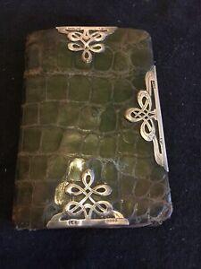 Superb Antique Victorian Green Snake Skin + Sterling Silver Mounts Purse Wallet