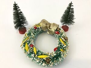Vintage Bottle Brush wreath and 2 Christmas Trees Ornament Fake Snow Berrys