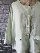 Flax Linen Shirt Basic Jacket Mist Mint Green Medium M