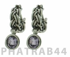 Pandora Sterling Silver Tied Together Purple Amethyst Earring 290159PAM