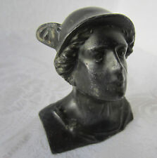 Hermes Greek God Bust  antique vintage  metal