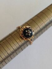 Fine Antique Victorian or 9 ct Noir émail & Rose Diamond Set Ring
