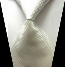 V263 Mens Classic Solid Silvery White JACQUARD WOVEN Tie 100% Silk Ties Necktie