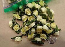 Silk ribbon Roses Beautiful Yellow Spring Wedding Tutu Craft 100 count #87