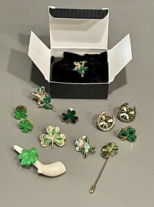 11 Vintage ST PATRICK'S DAY Pin Party Costume Jewelry Lot      (30)