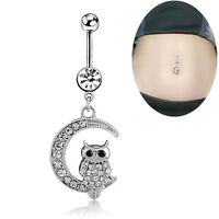 Rhinestone Steel Body Piercing Navel Rings Belly Button Barbell Dangle Bar HF