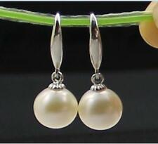 HUGE 11-12MM NATURAL SOUTH SEA GENUINE PERFECT ROUND WHITE PEARL DANGLE EARRING