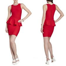 BCBGMaxazria Small Francis Peplum Bandage Dress Red Sleeveless Layered Ruffle