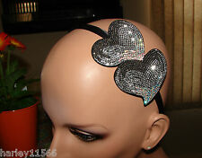 OPHELIE HATS HANDMADE HEADBAND BLACK DOUBLE CRYSTAL HEARTS NWT SO PRETTY ON!!