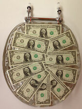 ELONGATED DOLLARS COINS MONEY LUCITE RESIN TOILET SEAT