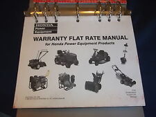 HONDA ENGINES WARRANTY FLAT RATE MANUAL FOR POWER EQUIPMENT PRODUCTS
