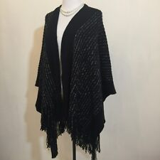BCBG MAXAZRIA one-size black / silver Poncho Sweater New NWT $248