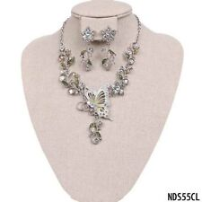 Clear Rhinestone and Silver Toned Butterfly and Flower Necklace W Earrings