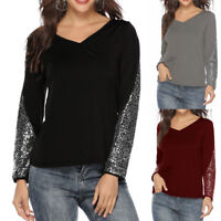 Women Ladies Sequin Patchwork Long Sleeve V- Neck Loose Tops Casual Shirt Blouse