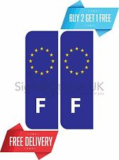2x Euro F Badge France Number Plate Sticker. Peel and Stick. European Sticker.