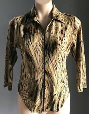 Vintage PEER GYNT Shades of Brown, Gold & Black Zip Front Stretch Top Size M/10