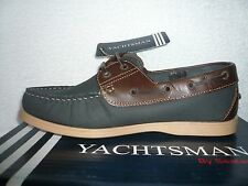 MENS DECK BOAT SHOES SIZE 7 UK YACHTSMAN GENUINE LEATHER NAVY/BROWN BRAND NEW