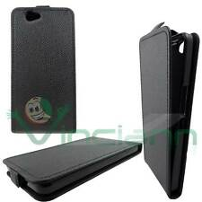 Case Flip cover BLACK eco leather for Wiko Getaway opening vertical