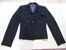 Women's CUE Size 8 AU Blazer Jacket Black ExCon Shoulder Pads Work Office Crop?