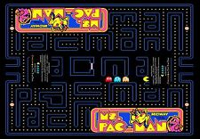 """Arcade Classics Cocktail Table Underlay ms. pac-man 23""""wide  x33"""" long"""