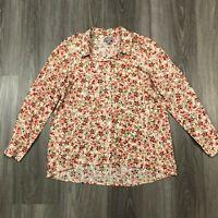 J Jill Womens Petite XS White Floral L/S Button Shirt 100 Rayon