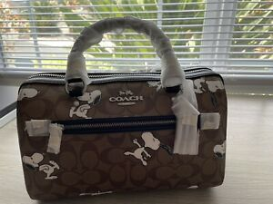 coach x peanuts rowan satchel in signature canvas with Snoopy