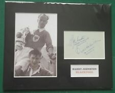 """1953 FA CUP FINAL. HARRY JOHNSTON - BLACKPOOL FC  SIGNED MOUNTED DISPLAY 10""""x 8"""""""